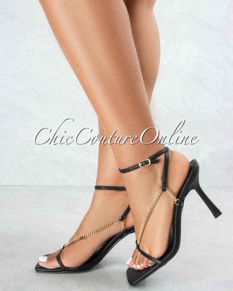 Dreamy Black Straps Gold Link Ankle Buckle Heel Sandals