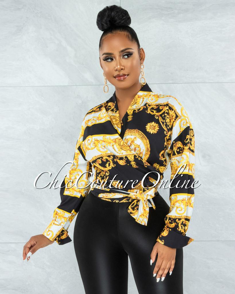 Macon Black Gold Print Front Tie Blouse