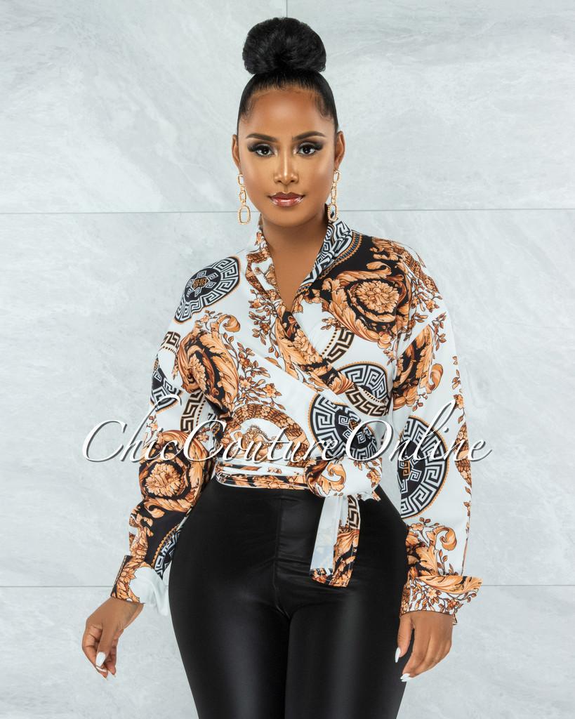 Taylor White Brown Black Print Front Tie Blouse