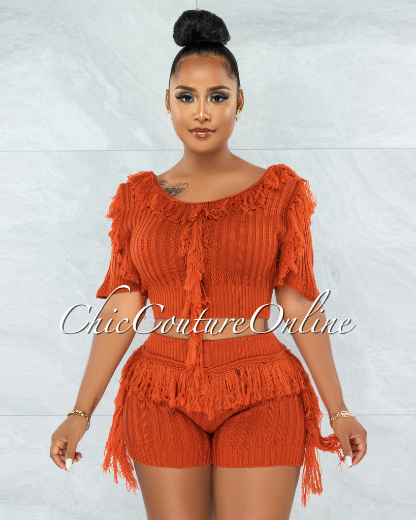 Ulma Rust Fringe Accent Knit Two Piece Set