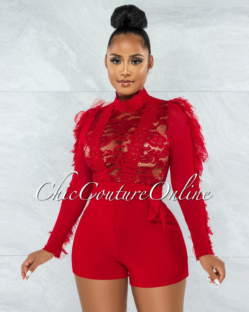 Kacela Red Lace Sheer Top Ruffle Sleeves Romper