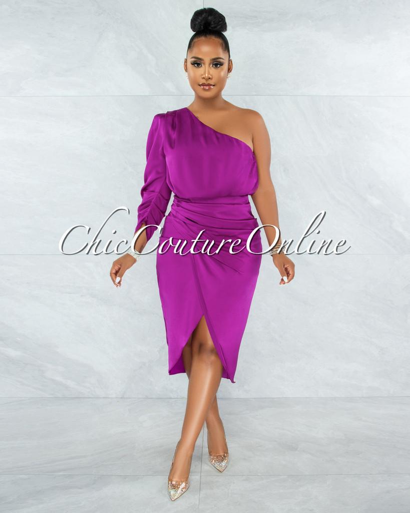 Folgar Purple Draped Single Shoulder Midi Dress