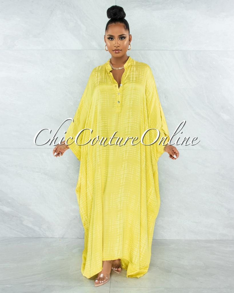 Harford Yellow Snake Print Satin Tunic Maxi Dress