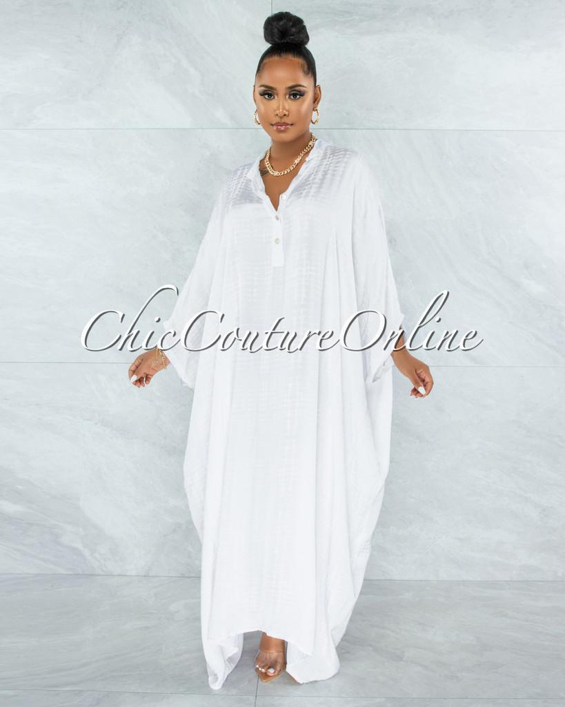 Harford White Snake Print Satin Tunic Maxi Dress