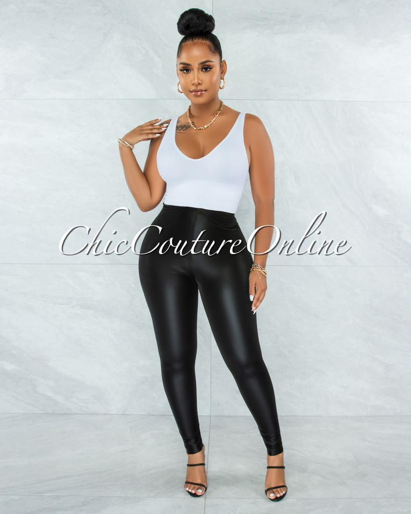 Karisma Black Faux Leather Shinny Leggings