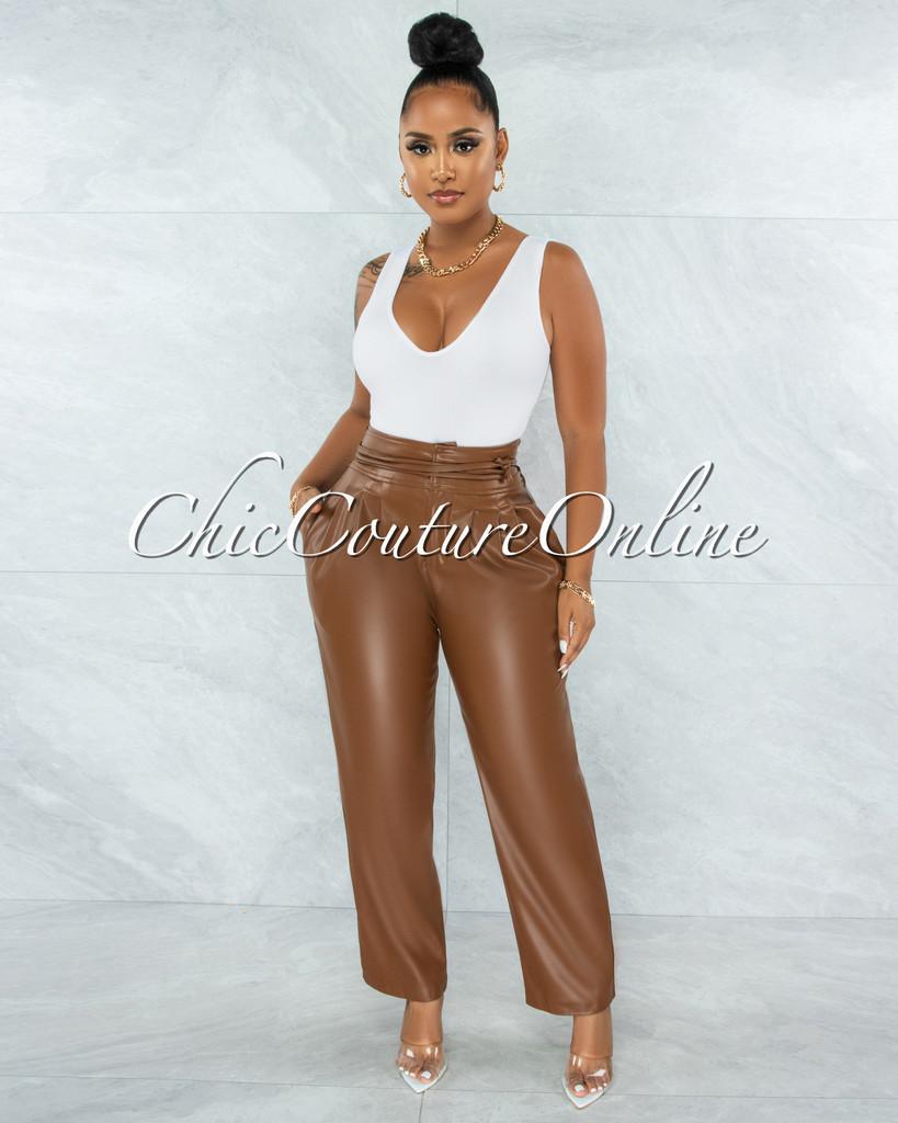 Estella Brown Faux Leather High Waist Pants