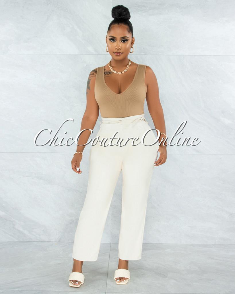 Estella Cream Faux Leather High Waist Pants
