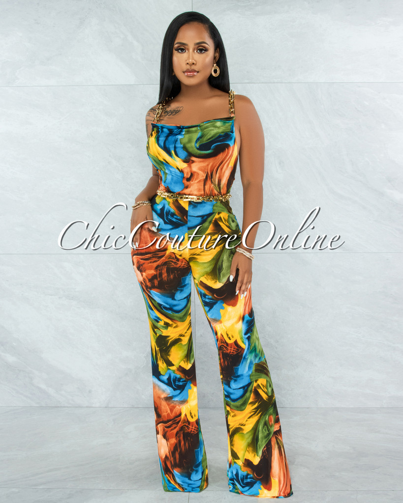 Alabama Multi-Color Abstract Print Gold Link Jumpsuit