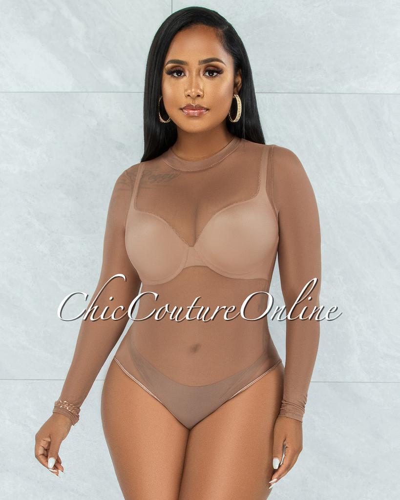 Granada Mocha Mesh Sheer Bodysuit