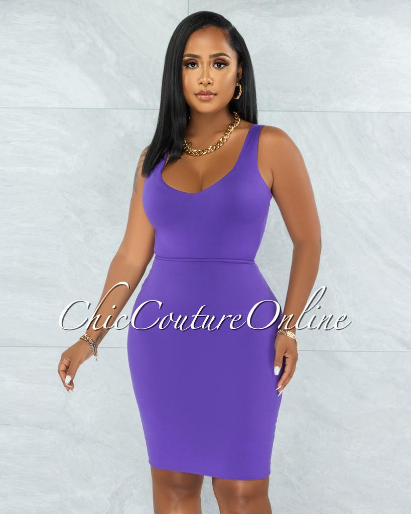 Majesta Purple Double Lined Bodysuit & Skirt Set