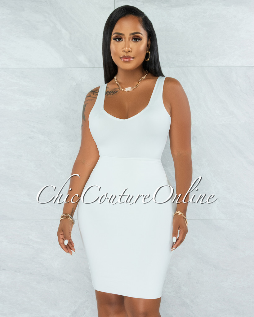 Majesta Off-White Double Lined Bodysuit & Skirt Set