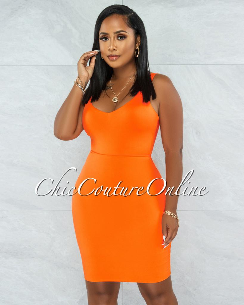 Majesta Orange Double Lined Bodysuit & Skirt Set