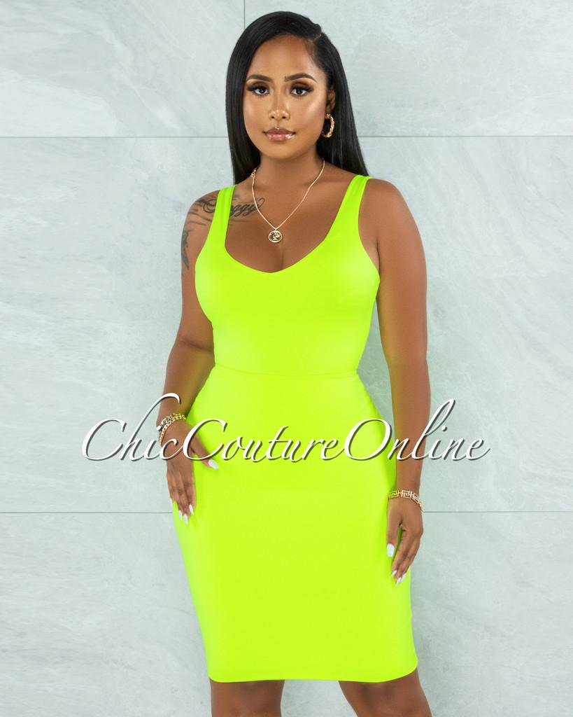 Majesta Neon Green Double Lined Bodysuit & Skirt Set