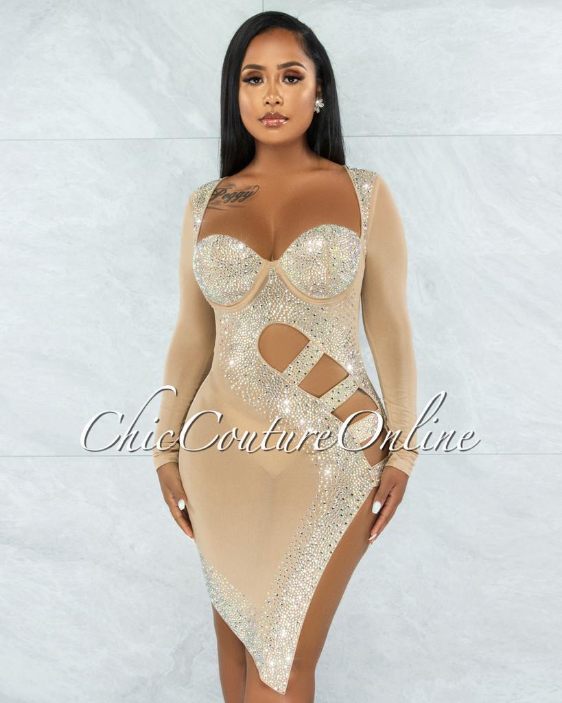 Damaris Nude Rhinestones Mesh Cut-Out Dress
