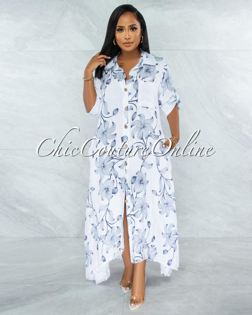 Evans White Navy Blue Floral Print Shirt LINEN Maxi Dress
