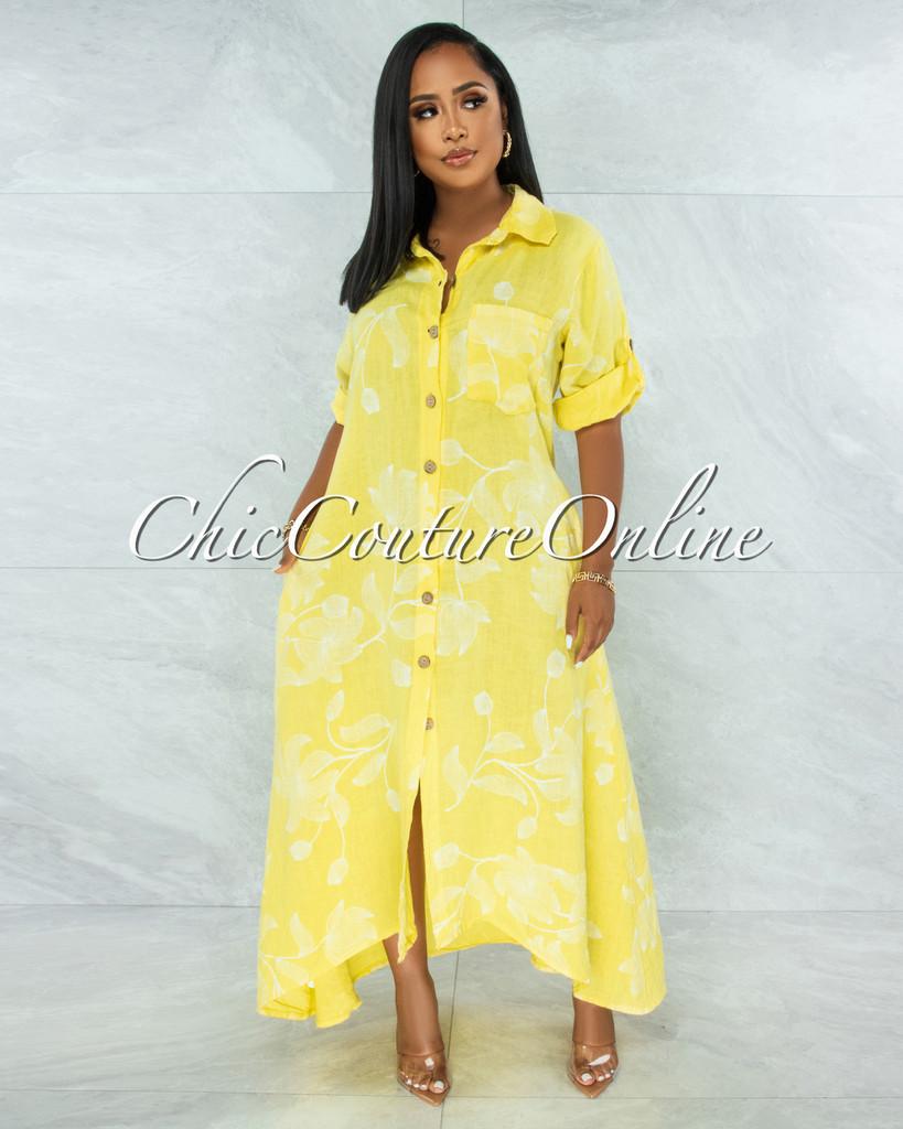 Evans Yellow White Floral Print Shirt LINEN Maxi Dress