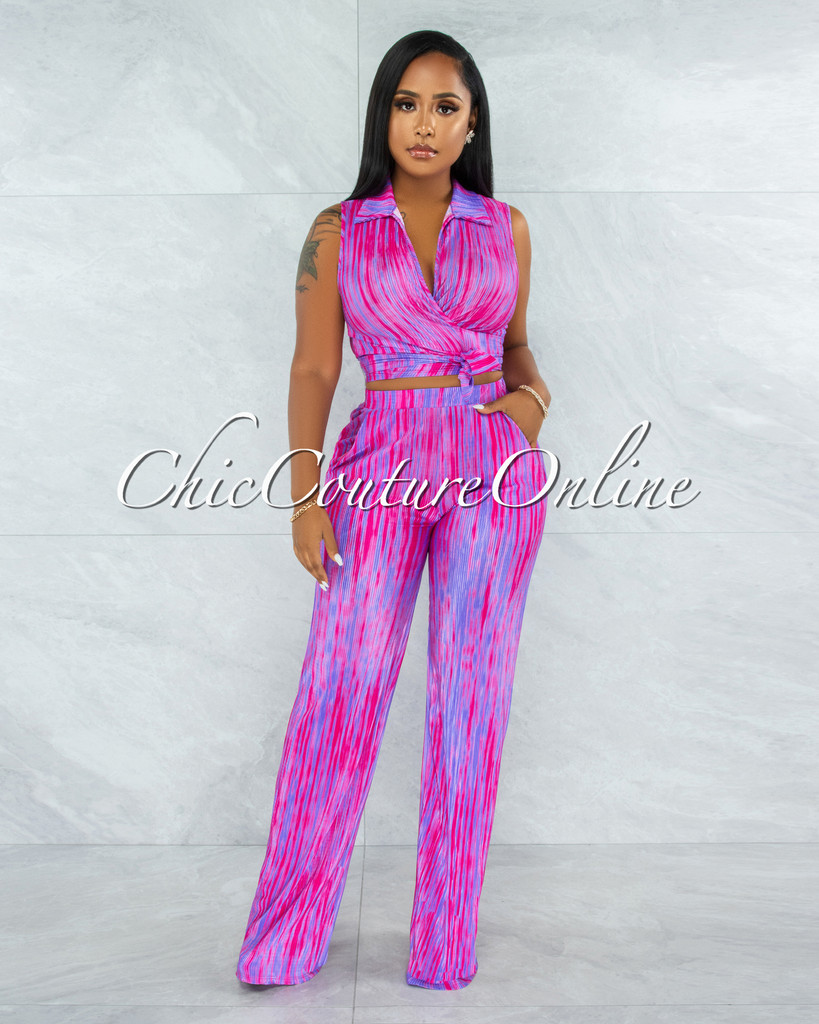 Brookson Fuchsia Purple Front Tie Top & Pants Ribbed Set