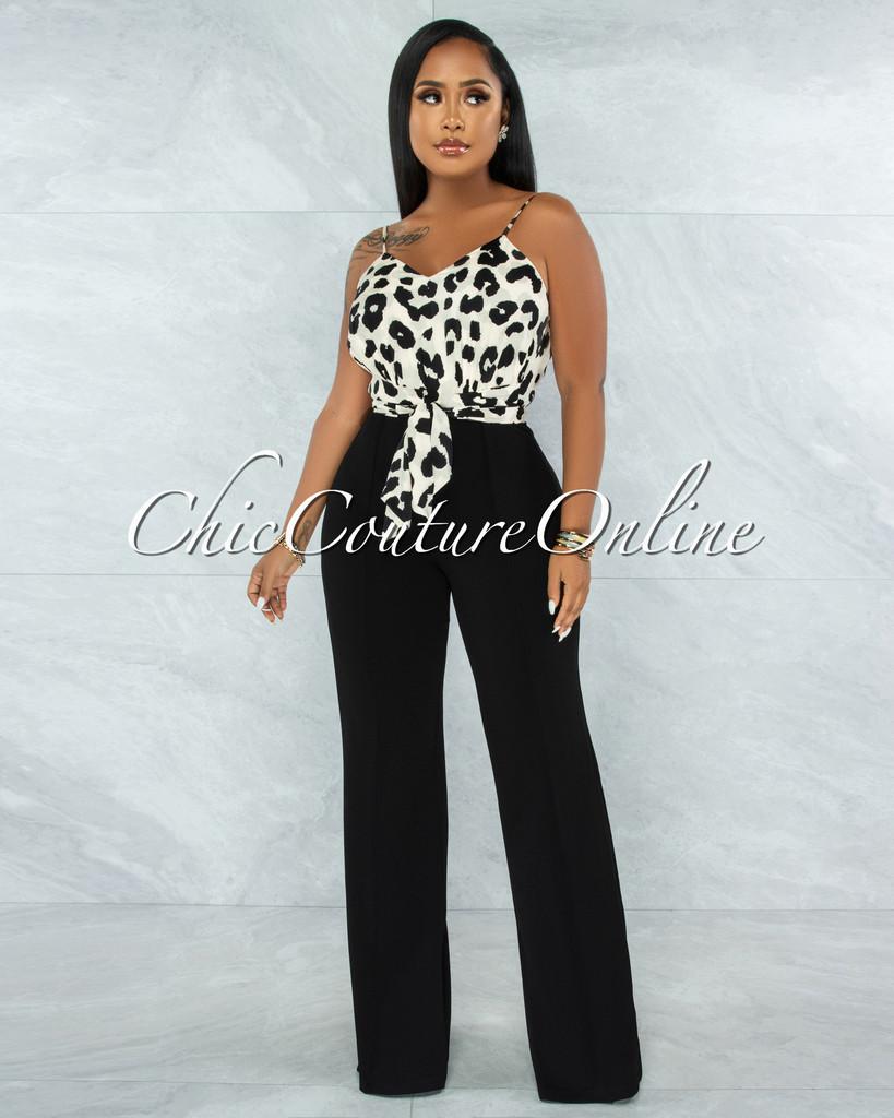 Candan Leopard Print Top Black Bottom Two-Tone Jumpsuit