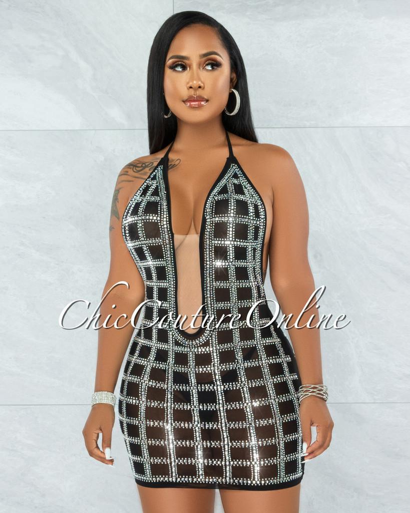 Tetra Black Rhinestones Mesh Halter Mini Dress
