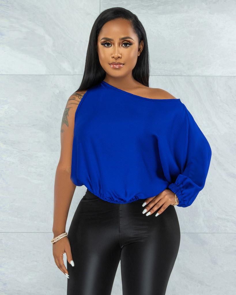 Questa Royal Blue Single Long Sleeve Satin Top