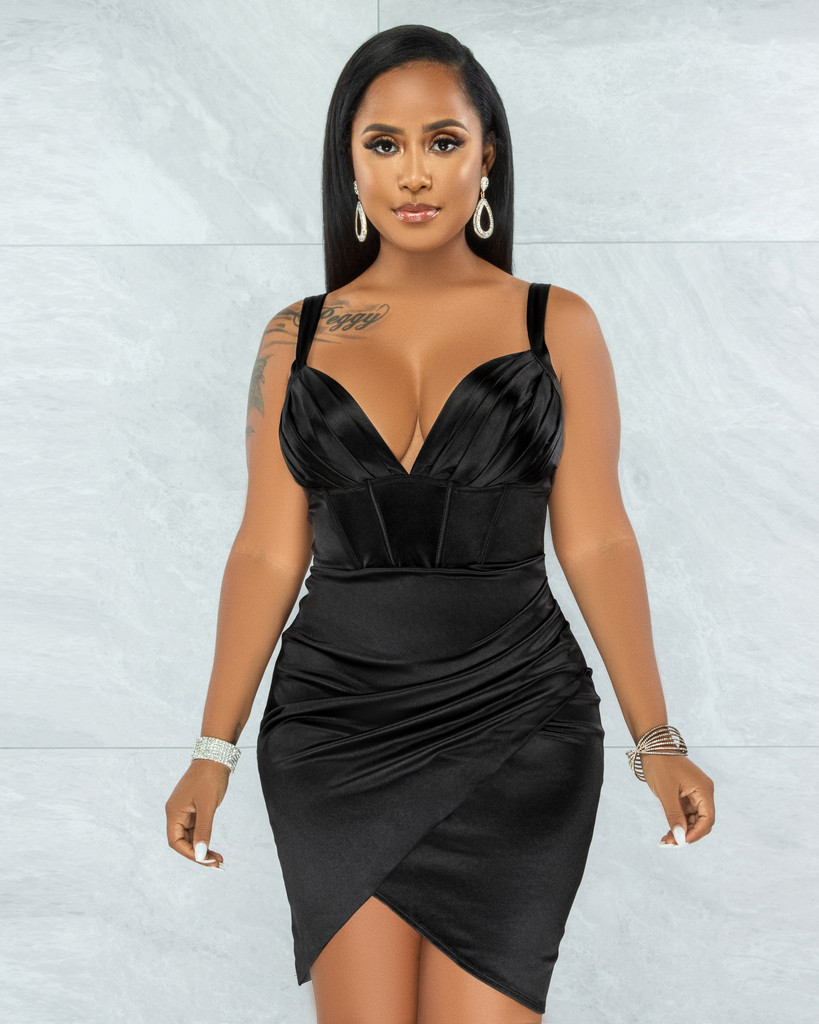 Diego Black Corset Style Wrap Hem Satin Dress