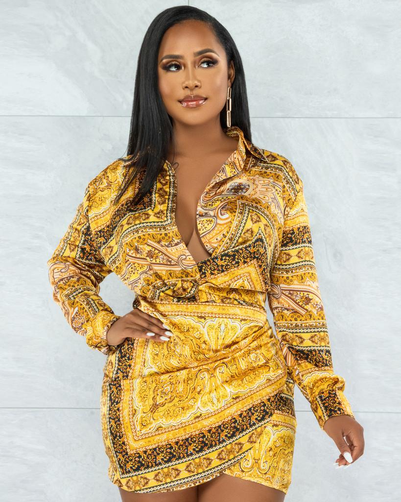 Casilda Gold Black Print Draped Satin Dress