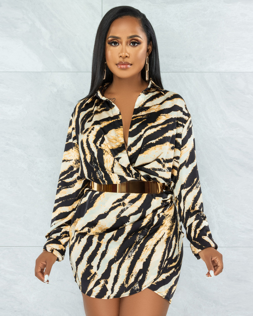 Renita Black Gold Tiger Print Draped Dress