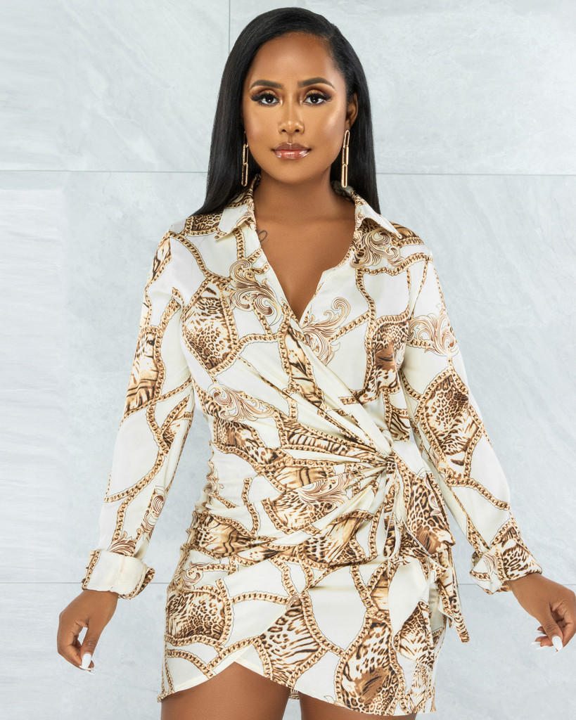 Davina Ivory Brown Print Wrap Satin Dress