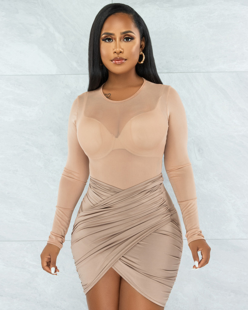 Lorenza Nude Sheer Mesh Bodysuit & Draped Skirt Set