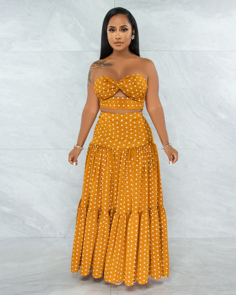 Juba Mustard White Polka Dots Cut-Out Top & Maxi Skirt Set