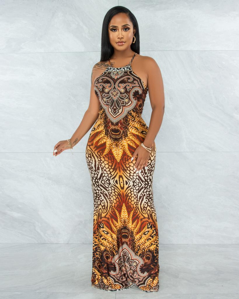 Mahdis Brown Gold Multi-Color Print Strappy Back Maxi Dress