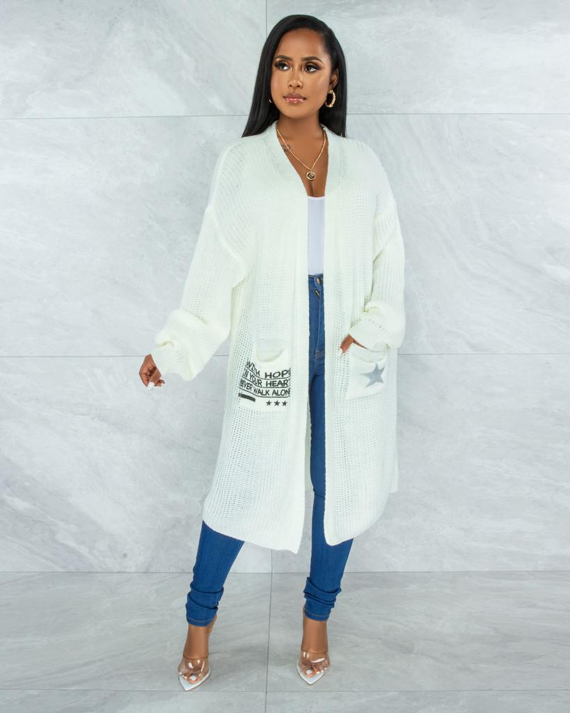 Pastora Off-White Knit Oversized Pocket Graphic Cardigan