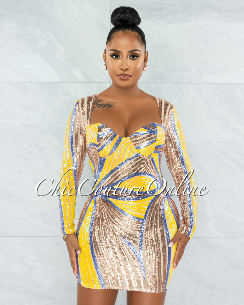 Ashley Yellow Nude Sequins Padded Cups Mini Dress