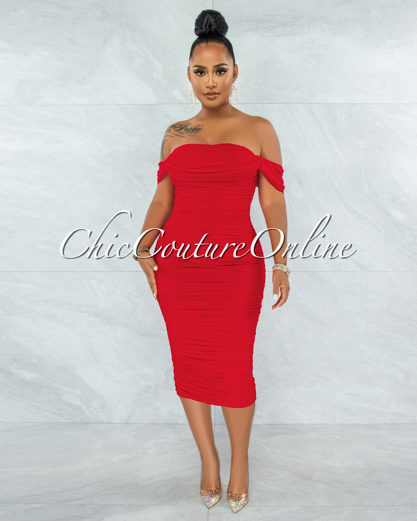 Becca Red Mesh Overlay Ruched Off-The Shoulder Dress