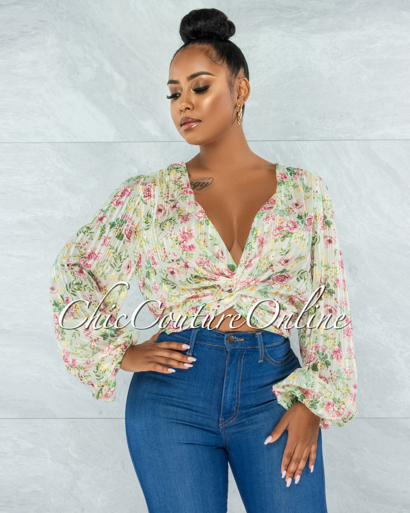 Daira Nude Floral Print Knot Front Sheer Shimmer Top