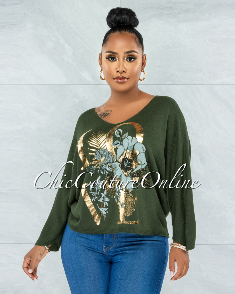 Hazar Olive Green Gold Front Graphic Knit Sweater