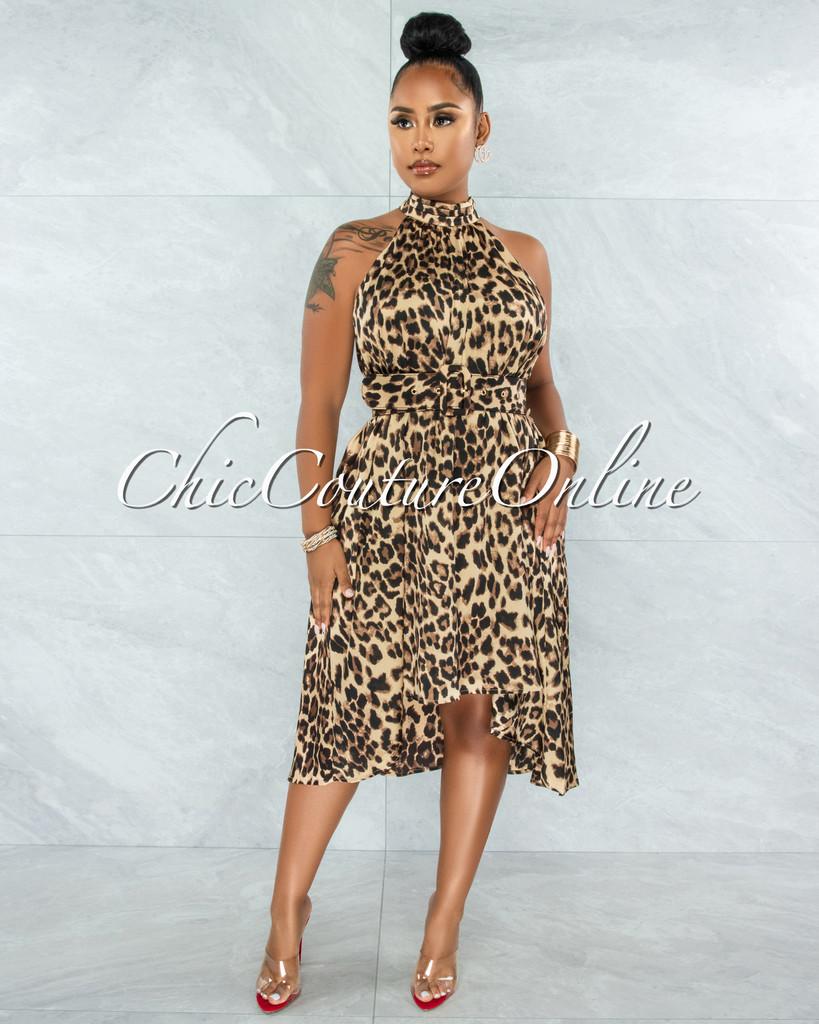 Kriste Leopard Print Satin Halter Hi-Lo Belted Dress