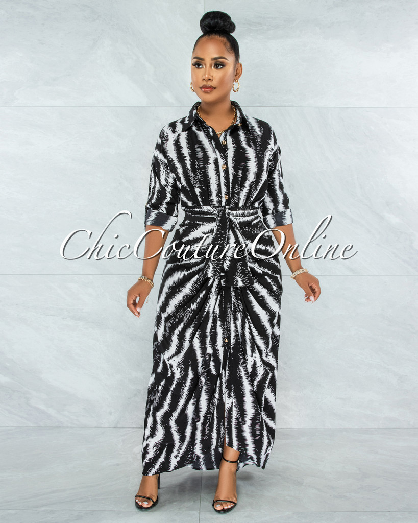 Cyrano Black White Print Gold Buttons Drape Maxi Dress