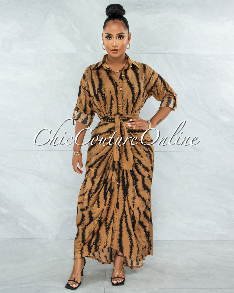 Cyrano Camel Black Print Gold Buttons Drape Maxi Dress