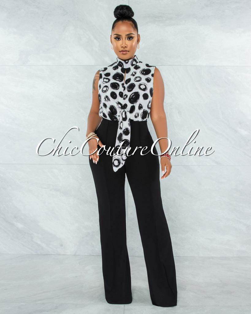 Dabeet White Black Print Top Black Bottom Two-Tone Jumpsuit
