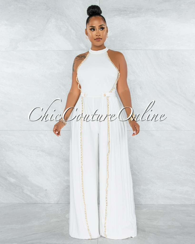 Garan Off-White Gold Link Accent Pleated Legs Jumpsuit