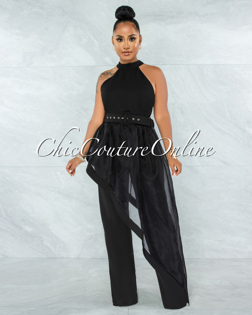 Imad Black Hi-Lo Sheer Belted Top & Wide Pants Set