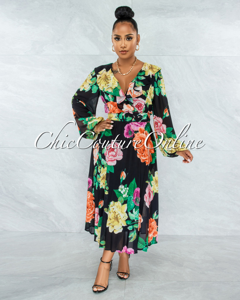 Barry Black Floral Print Pleated Skirt Belt Midi Ruffle Dress