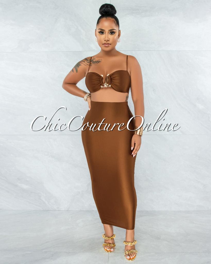 Carmen Copper Gold Accent Top & Pencil Skirt Set