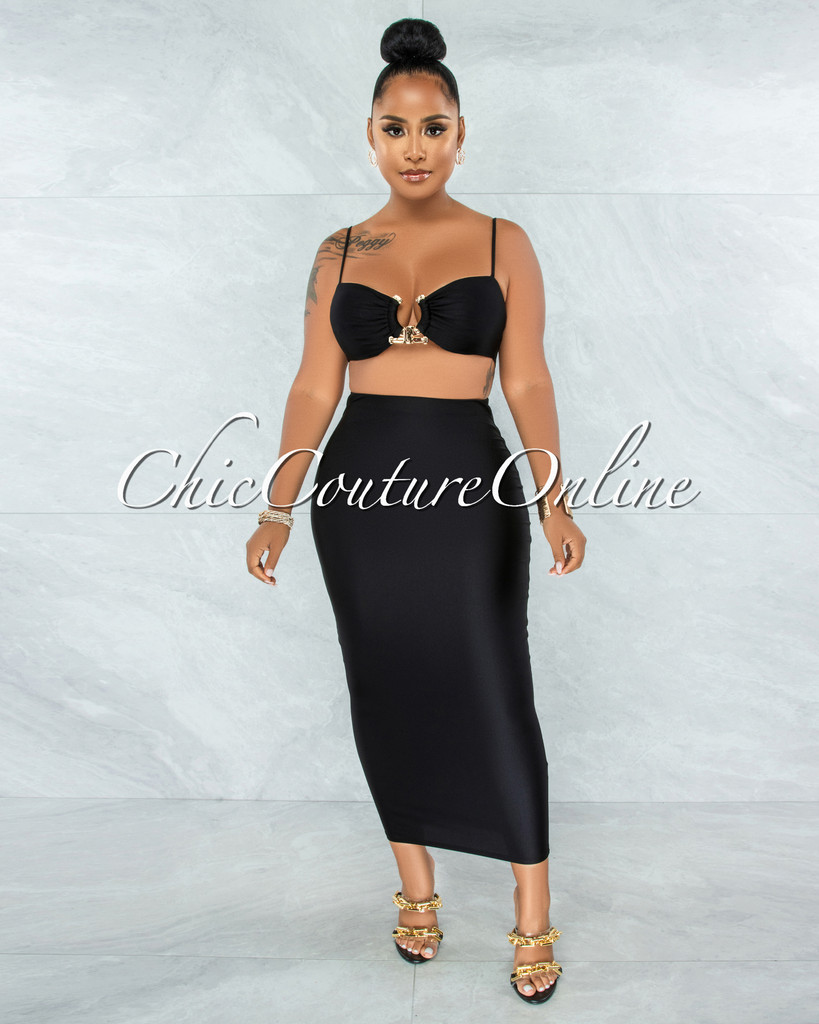 Carmen Black Gold Accent Top & Pencil Skirt Set