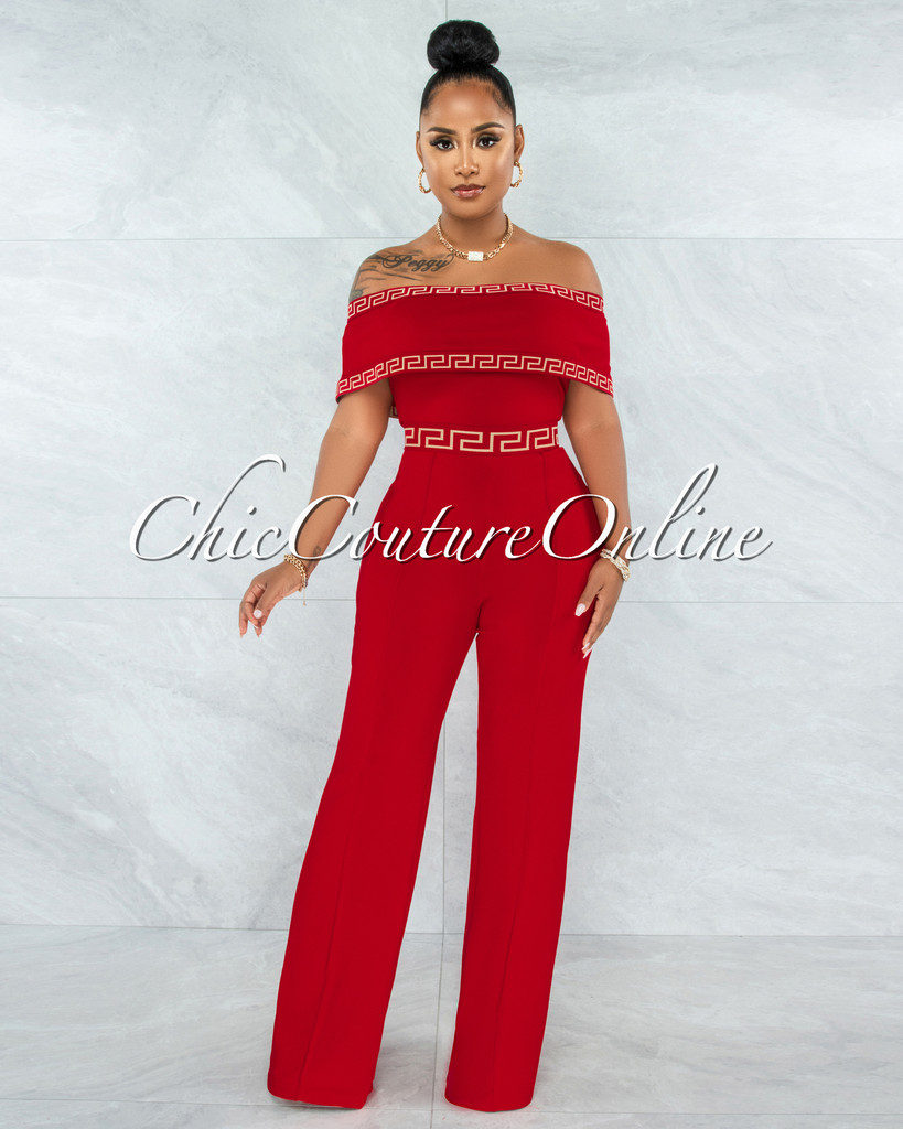 Montaro Red White Fret Trim Off-The Shoulders Jumpsuit