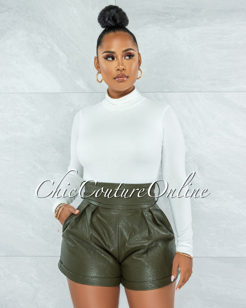 Prisma Olive Green Faux Leather Self-Tie Belt Shorts