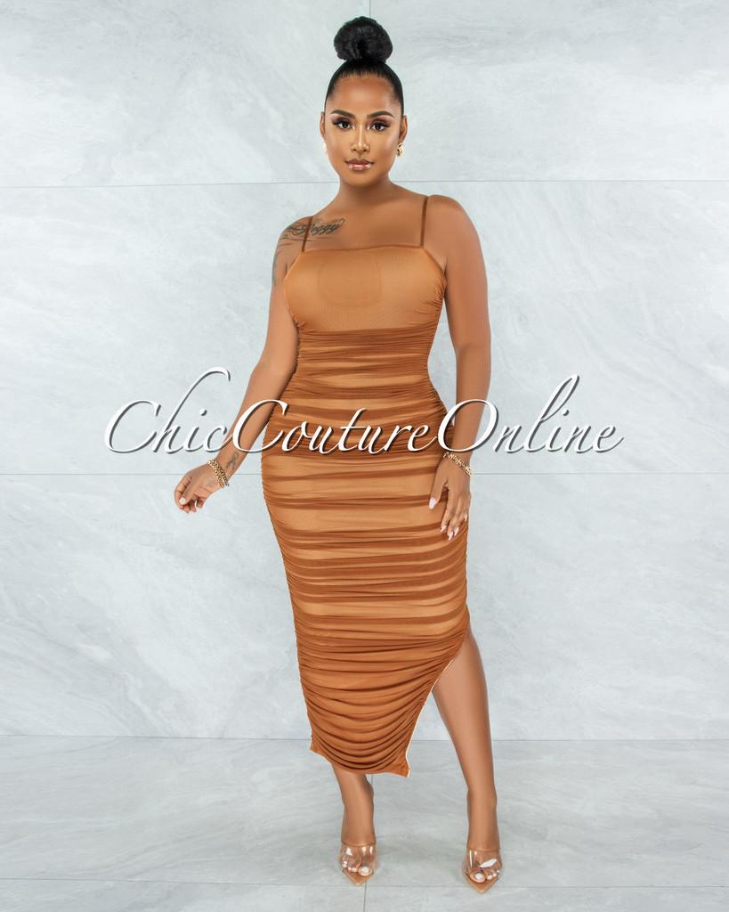 Yerina Camel Ruched Bodice Side Slit Maxi Dress