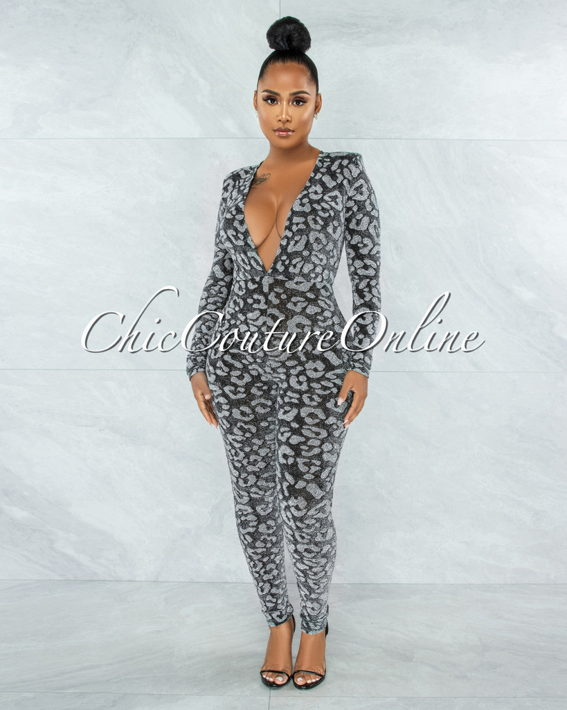 Fraser Black Silver Shimmer Leopard Print Jumpsuit