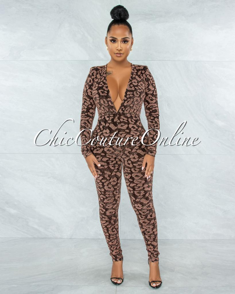 Fraser Black Bronze Shimmer Leopard Print Jumpsuit